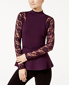INC Lace Peplum Sweater, Created for Macy's