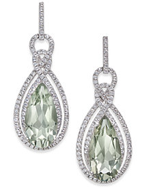 Prasiolite (6 ct. t.w.) & White Topaz (1/2 ct. t.w.) Drop Earrings in Sterling Silver