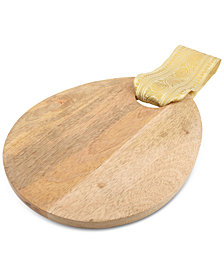 Thirstystone Egg-Shaped Wood Serving Board With Gold Fabric Trim