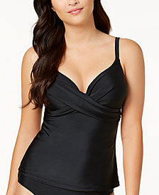 Island Escape Bondi Solids Gemini Push-Up Underwire Tankini Top, Created for Macy's