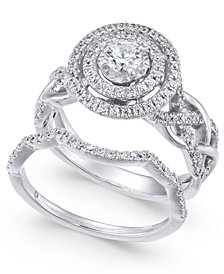 Diamond Braided Double Halo Bridal Set (1 ct. t.w.) in 14k White Gold