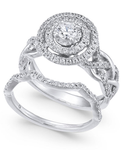 Diamond Braided Double Halo Bridal Set (1 ct. t.w.) in 14k White Gold