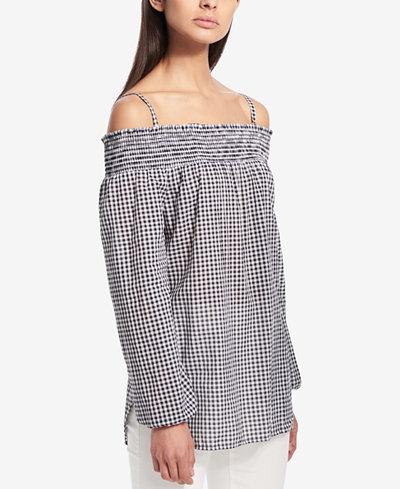 Calvin Klein Printed Cold-Shoulder Top