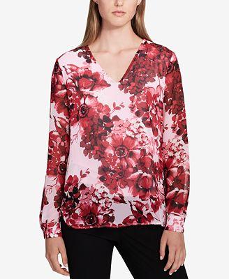 Calvin Klein Floral Illusion-Sleeve Top