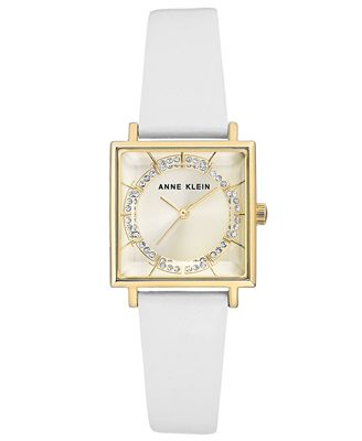 Anne Klein Women's White Leather Strap Watch 26x26mm