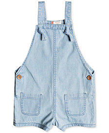 Roxy Eyes Flew Open Cotton Overall Shorts, Little Girls