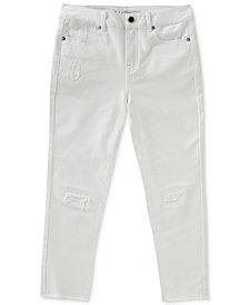 Calvin Klein Big Girls Frayed Capri Skinny Jeans