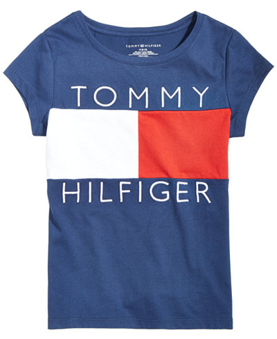 tommy hilfiger logo flag t shirt big girls shirts. Black Bedroom Furniture Sets. Home Design Ideas