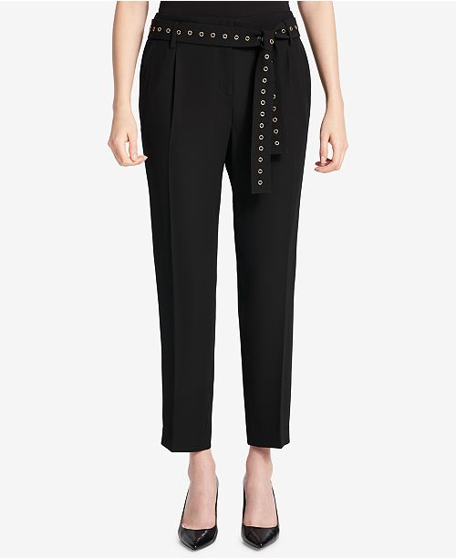 Calvin Klein Grommet-Belted Trousers