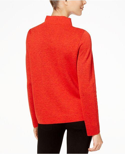 5dc369deed7 ... Eileen Fisher Merino Wool Reversible Funnel-Neck Sweater