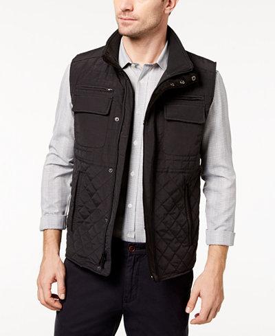 Vince Camuto Men's Quilted Zip-Front Vest - Coats & Jackets - Men ... : quilted zip front vest - Adamdwight.com