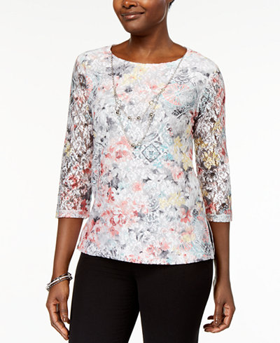 Alfred Dunner Petite Lakeshore Drive Printed Lace Necklace Top