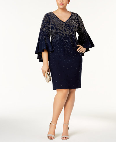 Betsy & Adam Plus Size Embellished Bell-Sleeve Dress