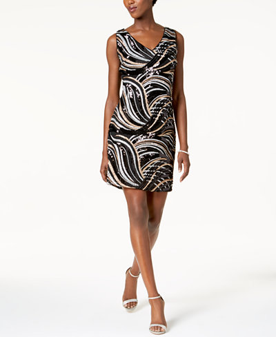 SL Fashions Multicolor Sequined Sheath Dress
