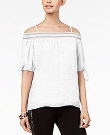 Thalia Sodi Tie-Sleeve Off-The-Shoulder Gauze Top, Created for Macy's