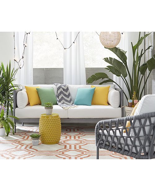 Sleek lines offset by woven detailing lend the durable Key Largo Outdoor  Seating Collection a stylishly contemporary character while soft, ... - Furniture CLOSEOUT! Key Largo Outdoor Seating Collection, With