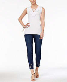 Thalia Sodi Ruffled Lace-Up Top & Embroidered Skinny Denim Pants, Created for Macy's