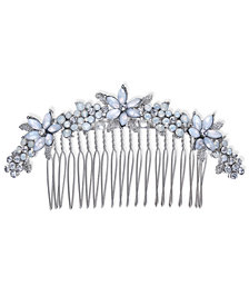I.N.C. Silver-Tone Stone & Crystal Flower Hair Comb, Created for Macy's