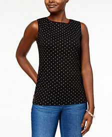Karen Scott Sleeveless Polka-Dot Top, Created for Macy's