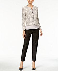 Anne Klein Tweed Jacket, Sleeveless Shirred-Neck Shell & Soft Denim Bowie Pants