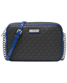 Michael Kors Signature Jet Set Item Large East West Crossbody Bag (Black/Blue)