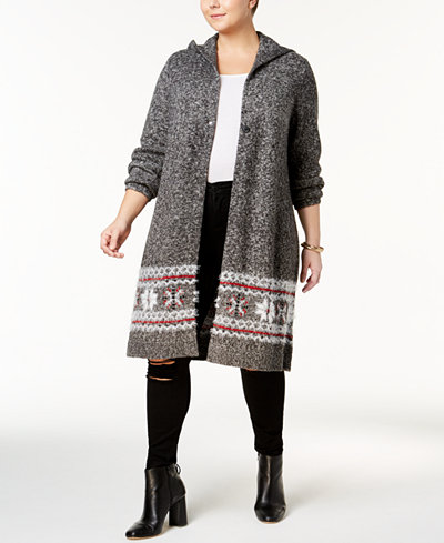 Style & Co Plus Size Snowflake-Print Hooded Duster Cardigan ...