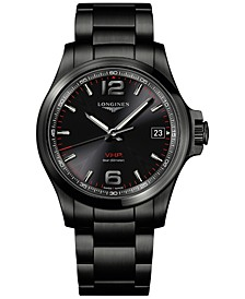 Men's Swiss Conquest VHP Black PVD Stainless Steel Bracelet Watch 41mm