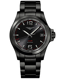 Longines Men's Swiss Conquest VHP Black PVD Stainless Steel Bracelet Watch 41mm