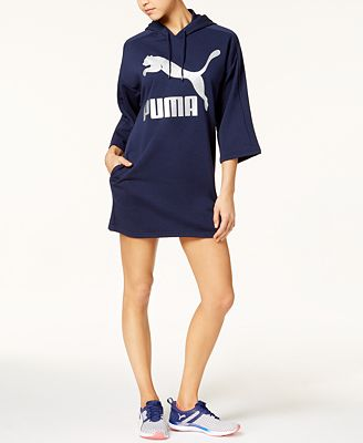 Puma Glam dryCELL Metallic-Logo Hoodie Dress