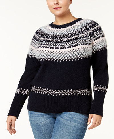 Tommy Hilfiger Plus Size Fair Isle Sweater, Created for Macy's ...