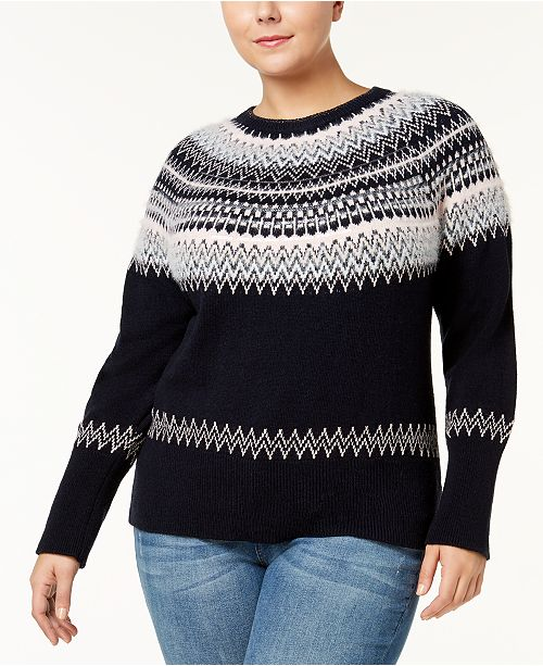 best shoes classic luxury fashion Tommy Hilfiger Plus Size Fair Isle Sweater, Created for ...