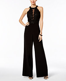 Nightway Glitter Lace Illusion Jumpsuit