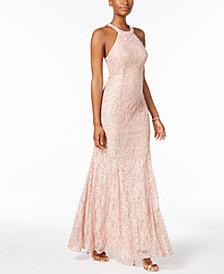 Nightway Sequined Lace Gown