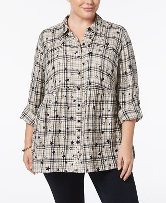 Style & Co Plus Size Star-Print Plaid Babydoll Shirt, Created for Macy's