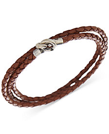 DEGS & SAL Men's Woven Leather Wrap Bracelet