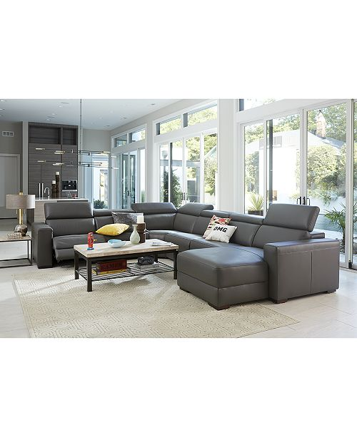 Furniture Nevio Leather Amp Fabric Power Reclining Sectional