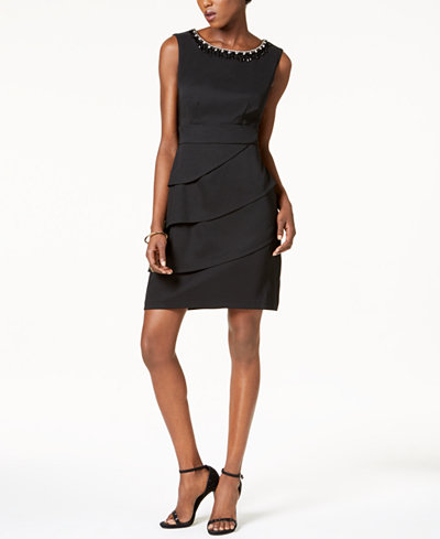 Connected Embellished Tiered Dress, Regular & Petite Sizes