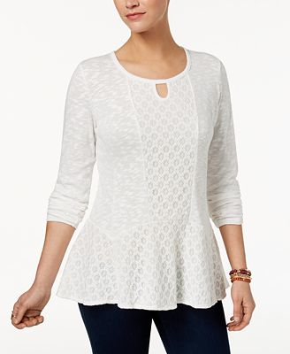 Style & Co Petite Lace Peplum High-Low Top, Created for Macy's