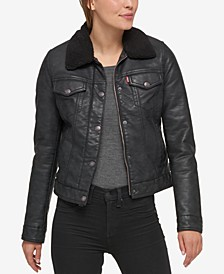 Sherpa Lined Faux Leather Trucker Jacket