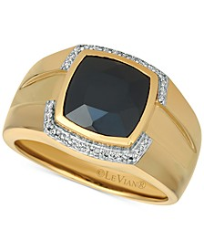 Gents™ Men's Onyx & Diamond (1/6 ct. t.w.) Ring in 14k Gold