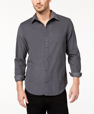 Calvin Klein Jeans Men's Solid Corduroy Shirt - Casual Button-Down ...