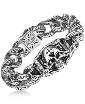 SCOTT KAY Men'S Skull Link Bracelet In Sterling Silver