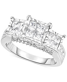 TruMiracle® Diamond Princess Triple Cluster Engagement Ring (1 ct. t.w.) in 14k White Gold