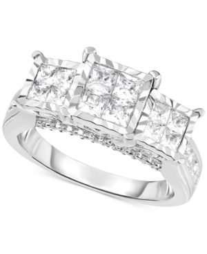 TruMiracle Diamond Princess Triple Cluster Engagement Ring
