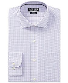 Lauren Ralph Lauren Men's Slim-Fit Stretch Non-Iron Tangelo/Blue Check Dress Shirt