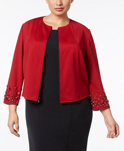Anne Klein Plus Size Crystal-Embellished Blazer
