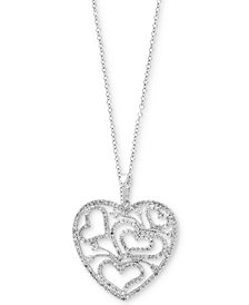 EFFY® Diamond Openwork Heart Pendant Necklace (1-1/10 ct. t.w.) in 14k White Gold