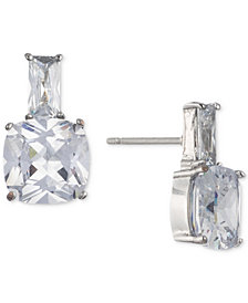Carolee Silver-Tone Cubic Zirconia Stud Earrings