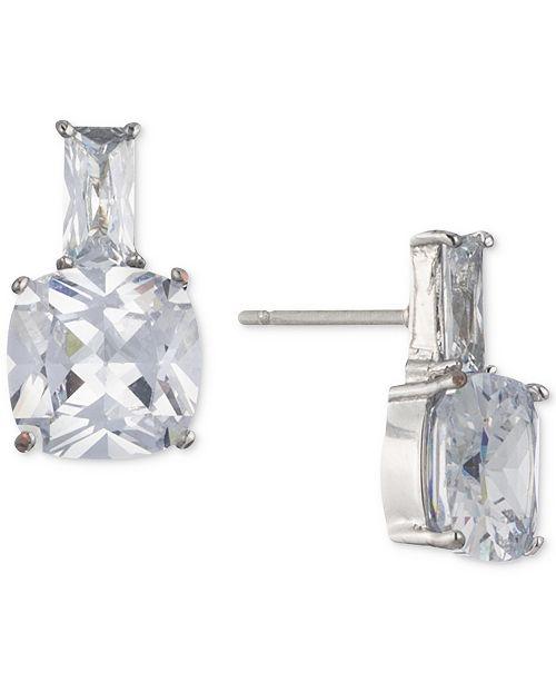Carolee Silver-Tone Cubic Zirconia Stud Earrings