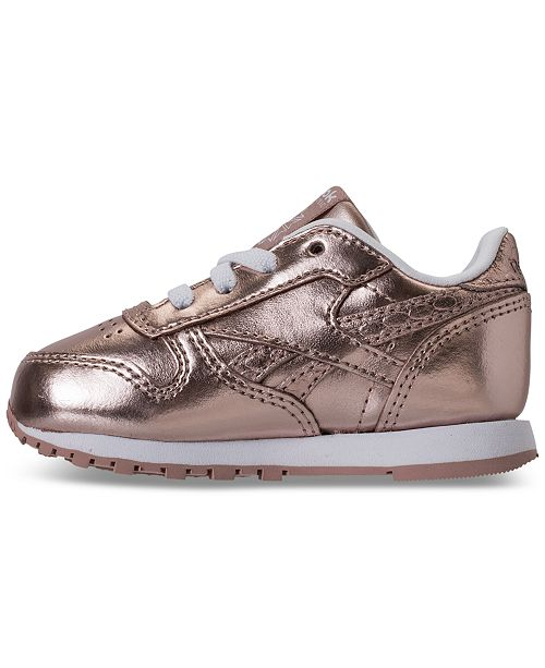 d505e7304e37 ... Reebok Toddler Girls  Classic Leather Metallic Casual Sneakers from  Finish ...